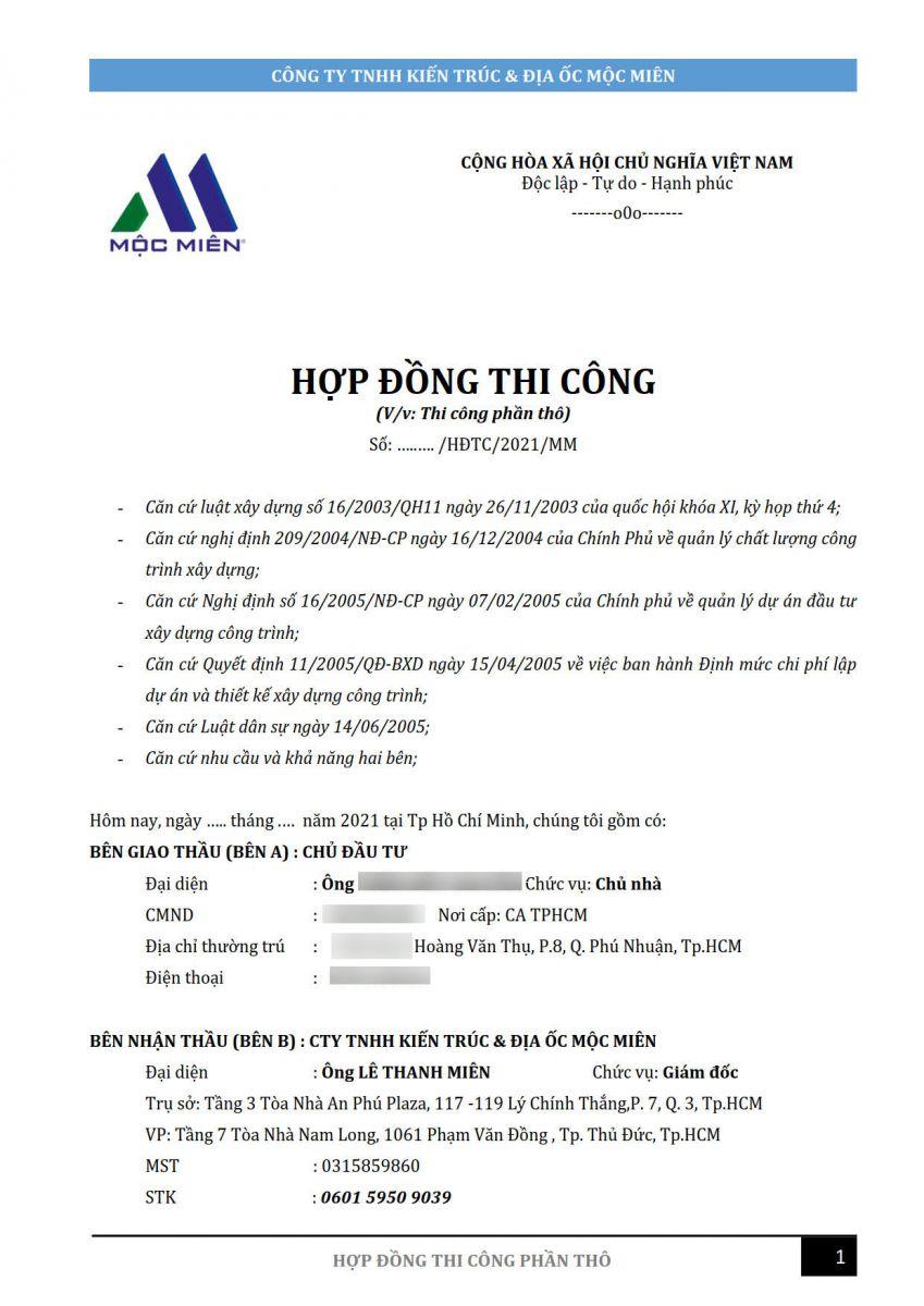 hợp đồng thi công phần thi